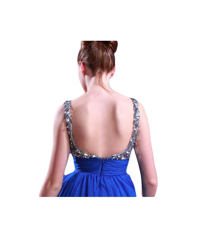 ... Dlhé modré spoločenské šaty na ramienka 80905. Výpredaj 3730b7d4496