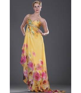 Dlhé kvetované spoločenské šaty na jedno ramienko 99403