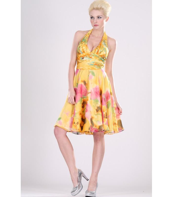 ... Krátke kvetované spoločenské šaty s ramienkami okolo krku 99403.  Výpredaj ea7dffaf835