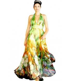Dlhé kvetované spoločenské šaty 99668